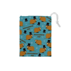 Groundhog Day Pattern Drawstring Pouch (small)
