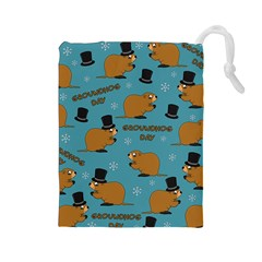 Groundhog Day Pattern Drawstring Pouch (large)