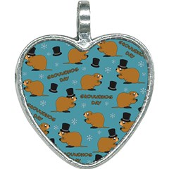 Groundhog Day Pattern Heart Necklace