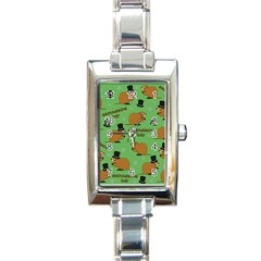 Groundhog Day Pattern Rectangle Italian Charm Watch