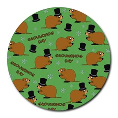 Groundhog Day Pattern Round Mousepads