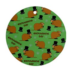 Groundhog Day Pattern Ornament (round)