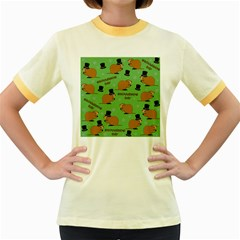 Groundhog Day Pattern Women s Fitted Ringer T Shirt