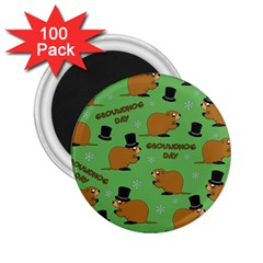 Groundhog Day Pattern 2 25  Magnets (100 Pack)