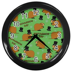 Groundhog Day Pattern Wall Clock (black)