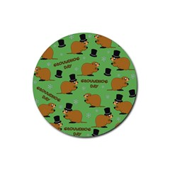Groundhog Day Pattern Rubber Round Coaster (4 Pack)