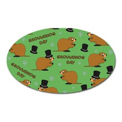Groundhog Day Pattern Oval Magnet