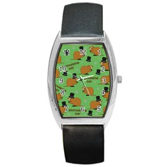Groundhog Day Pattern Barrel Style Metal Watch