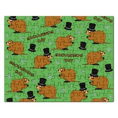 Groundhog Day Pattern Rectangular Jigsaw Puzzl