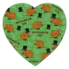 Groundhog Day Pattern Jigsaw Puzzle (heart)