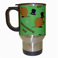 Groundhog Day Pattern Travel Mugs (white)