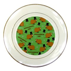 Groundhog Day Pattern Porcelain Plates