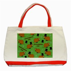 Groundhog Day Pattern Classic Tote Bag (red)
