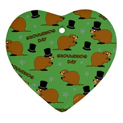 Groundhog Day Pattern Heart Ornament (two Sides)