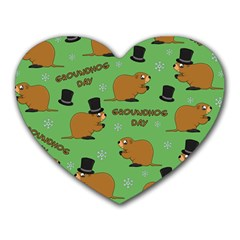 Groundhog Day Pattern Heart Mousepads