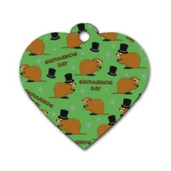 Groundhog Day Pattern Dog Tag Heart (two Sides)