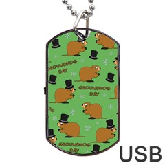 Groundhog Day Pattern Dog Tag Usb Flash (two Sides)