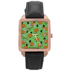 Groundhog Day Pattern Rose Gold Leather Watch