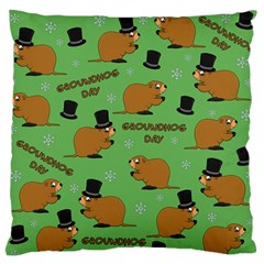 Groundhog Day Pattern Large Flano Cushion Case (two Sides)