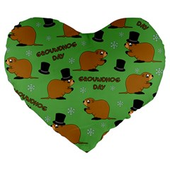 Groundhog Day Pattern Large 19  Premium Flano Heart Shape Cushions