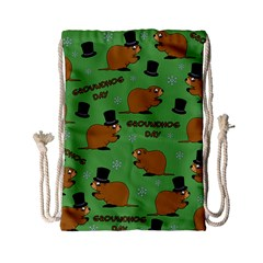 Groundhog Day Pattern Drawstring Bag (small)