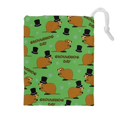 Groundhog Day Pattern Drawstring Pouch (xl)
