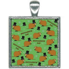 Groundhog Day Pattern Square Necklace