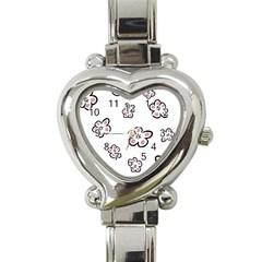 Plum Seamless Flower Heart Italian Charm Watch
