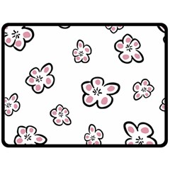 Plum Seamless Flower Fleece Blanket (large)  by Mariart