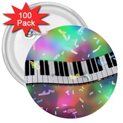 Piano Keys Music Colorful 3  Buttons (100 Pack)