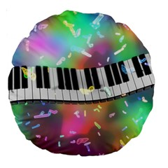 Piano Keys Music Colorful Large 18  Premium Round Cushions