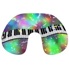 Piano Keys Music Colorful Travel Neck Pillows by Mariart