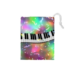 Piano Keys Music Colorful Drawstring Pouch (small) by Mariart