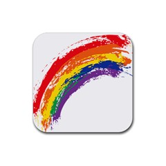 Watercolor Painting Rainbow Rubber Square Coaster (4 Pack)