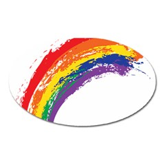 Watercolor Painting Rainbow Oval Magnet