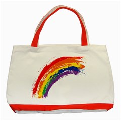 Watercolor Painting Rainbow Classic Tote Bag (red)