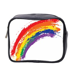 Watercolor Painting Rainbow Mini Toiletries Bag (two Sides)