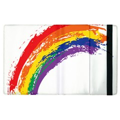 Watercolor Painting Rainbow Apple Ipad 2 Flip Case by Mariart