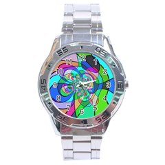 Retro Wave Background Pattern Stainless Steel Analogue Watch
