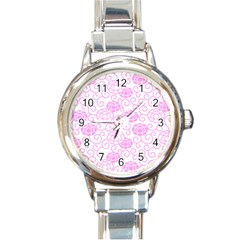 Peony Spring Flowers Round Italian Charm Watch by Mariart