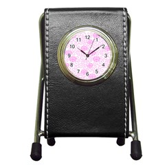 Peony Spring Flowers Pen Holder Desk Clock