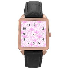 Peony Spring Flowers Rose Gold Leather Watch
