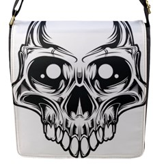 Illustration Skull Flap Closure Messenger Bag (s)