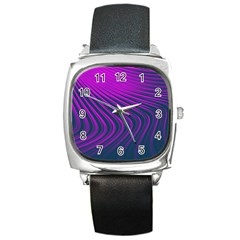 Line Geometric Blue Pink Square Metal Watch
