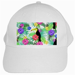 Leaves Tropical Nature Green Plan White Cap by AnjaniArt