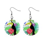 Leaves Tropical Nature Green Plan Mini Button Earrings Front
