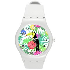 Leaves Tropical Nature Green Plan Round Plastic Sport Watch (m)
