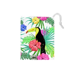 Leaves Tropical Nature Green Plan Drawstring Pouch (small)
