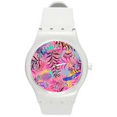 Illustration Reason Leaves Round Plastic Sport Watch (m)