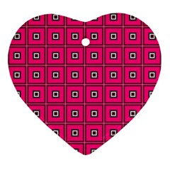 Pink Pattern Squares Ornament (heart)